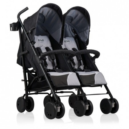 Carucior gemeni Zipper Duo Kiddo Black Silver