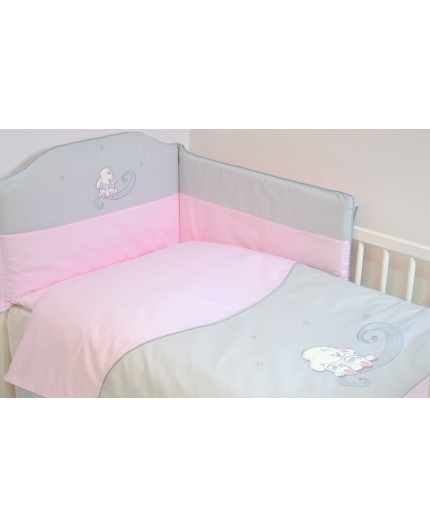 Lenjerie 3 piese cu broderie Bunny Pink