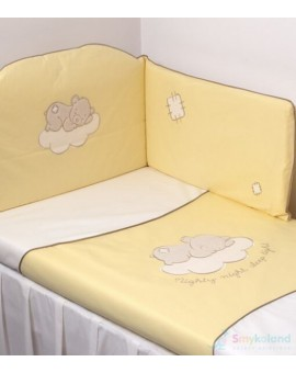 Lenjerie 3 piese cu broderie Teddy Bear Yellow