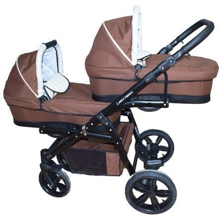 Carucior gemeni PJ STROLLER Lux 2in1 Brown