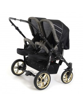 Carucior copii gemeni side by side 3 in 1, PJ STROLLER, Glitter Gold Triangle