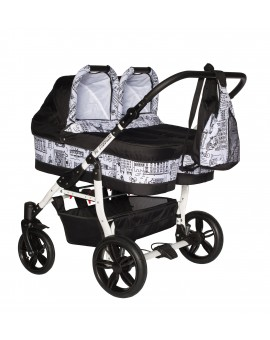 Carucior copii gemeni side by side 3 in 1, PJ STROLLER, White City Print