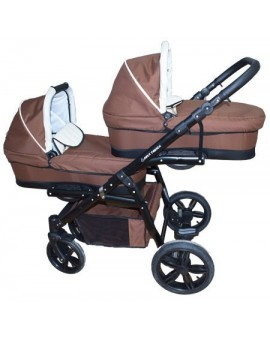 Carucior gemeni PJ STROLLER Lux 3in1 Brown